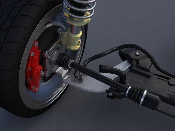 Mitsubishi EVO X suspension and wheels 3D Models