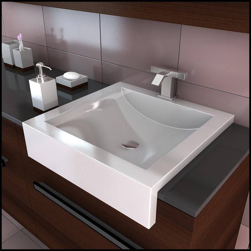 3d model bathroom furniture sink faucet for Bathroom design 3d model