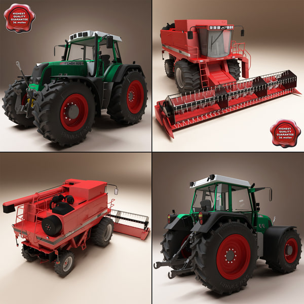 Combine and Tractor 3D Models