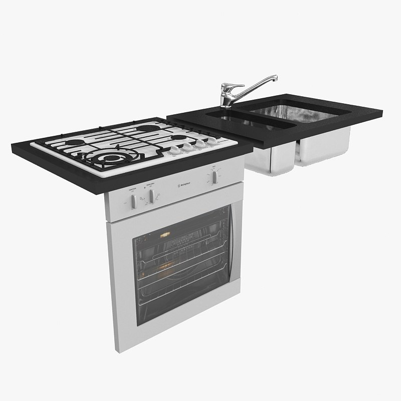 3ds max franke sink mixer gas cooktop
