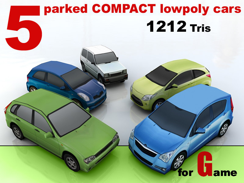 5 parked COMPACT lowpoly cars