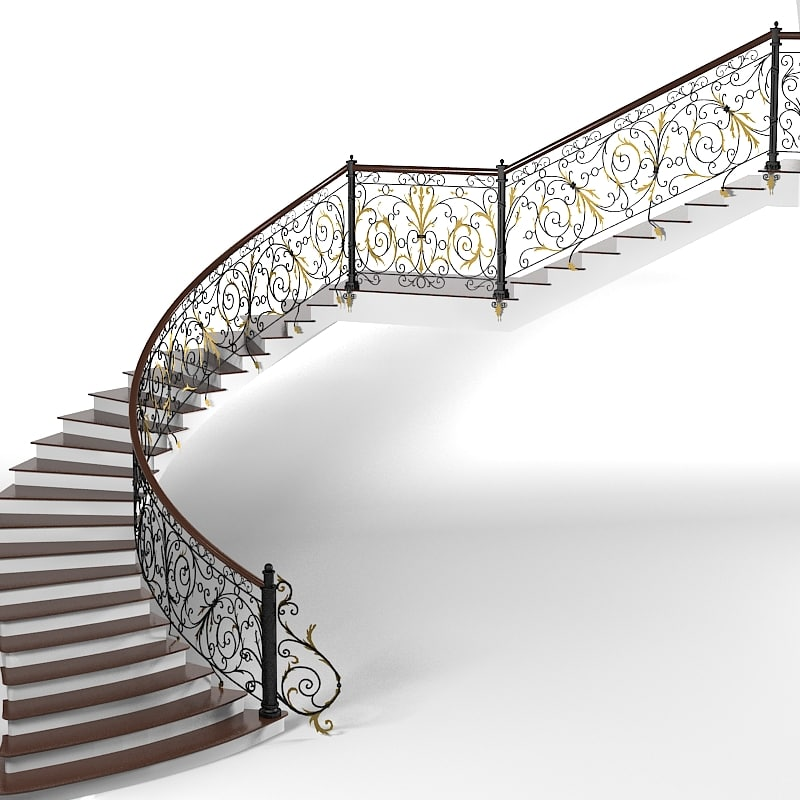 3ds classic spiral curved for Spiral staircase dwg