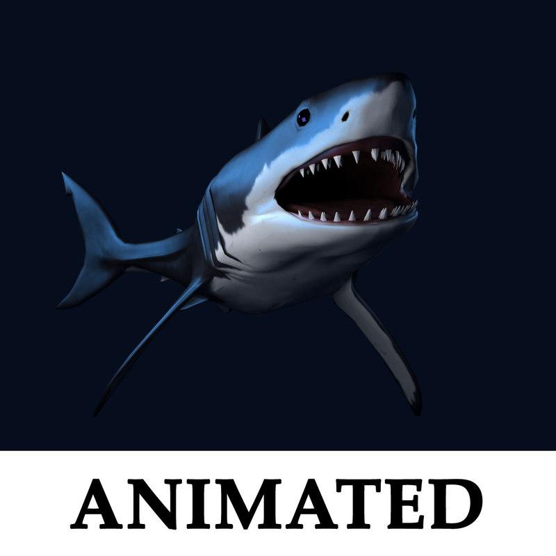 Great White Shark Blender CG Rigged Model for Sale