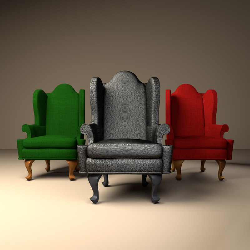 Queen Anne Wing Chair CG Models for Sale