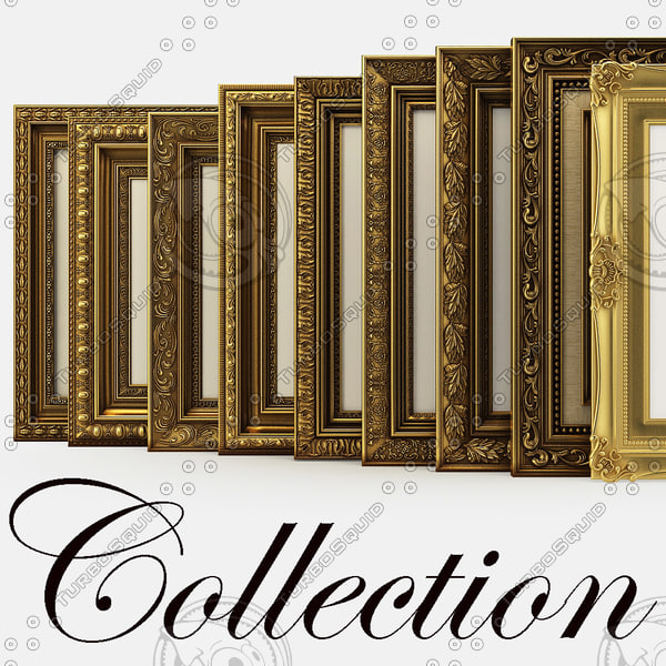 Collection of frames for pictures classical and traditional style 3D Models
