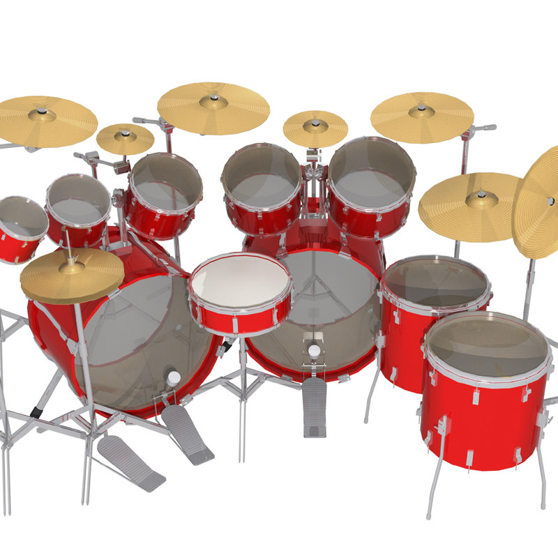 Drum Kit: 10 Piece: Red Finish: 3D Model