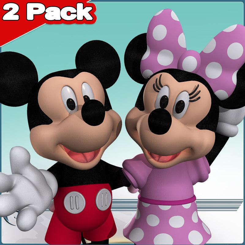 2 mickey minnie 3d model