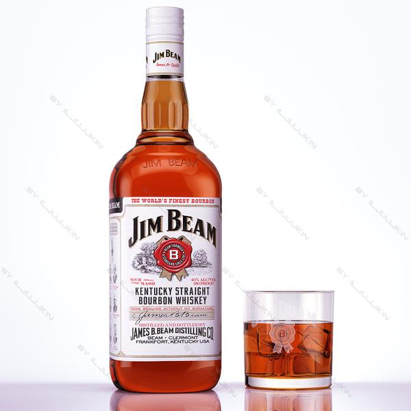 Jim Beam Bourbon whiskey 3D Models