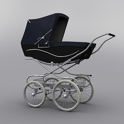 Classic Baby Pram (Navy-Black) 3D Models
