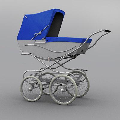 Classic Baby Pram (Light Blue - White) 3D Models