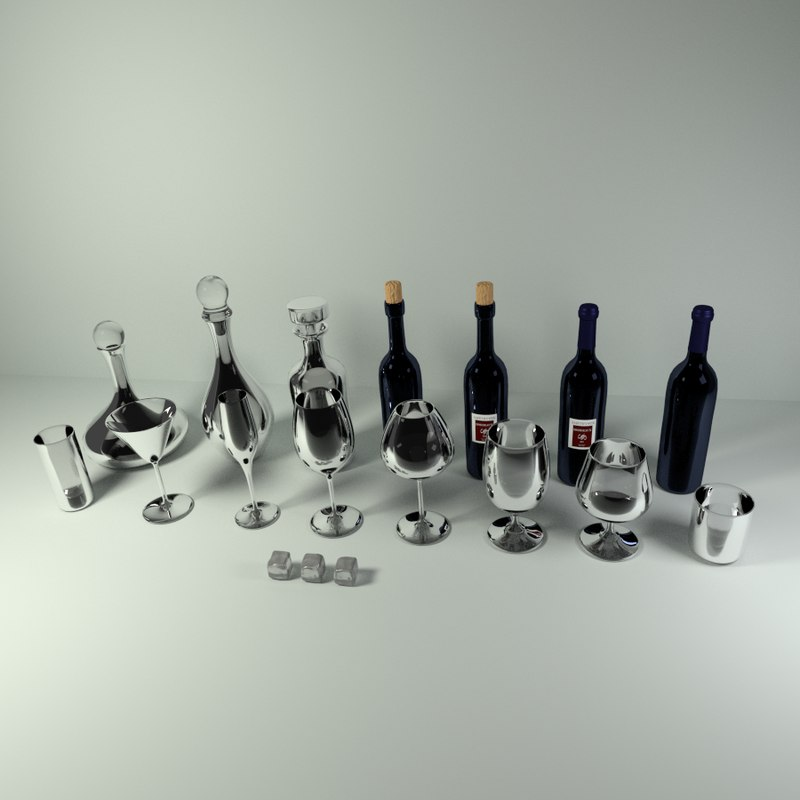 Wine and Bar Glass Pack CG Models for Sale