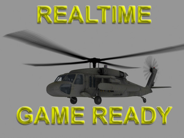 UH-60 Blackhawk US Army Transport Helicopter Game Ready model 3D Models