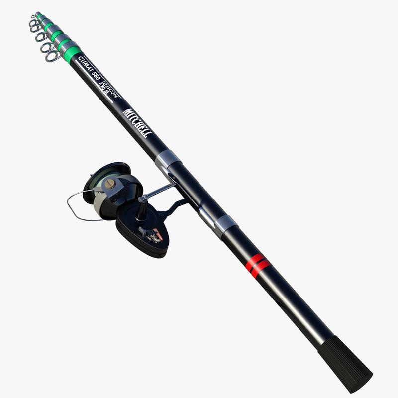 Rigged rod 3d model for 13 fishing origin c