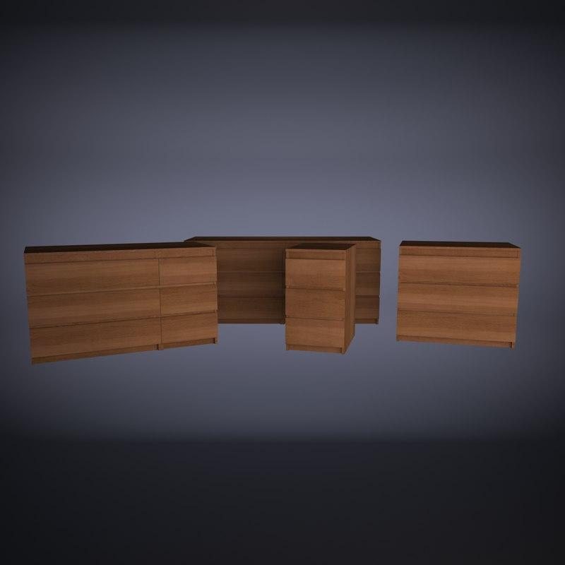 Kit Ikea Malm 3d Model