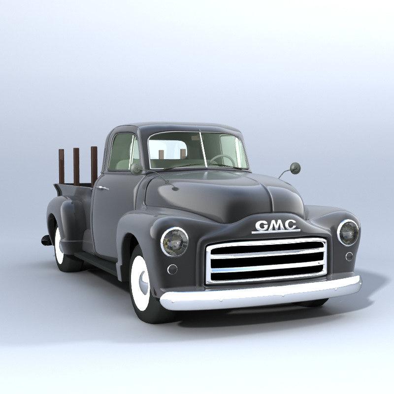 3d model of american gmc pickup truck. Black Bedroom Furniture Sets. Home Design Ideas