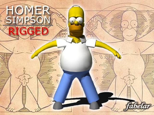 Homer Simpson rigged
