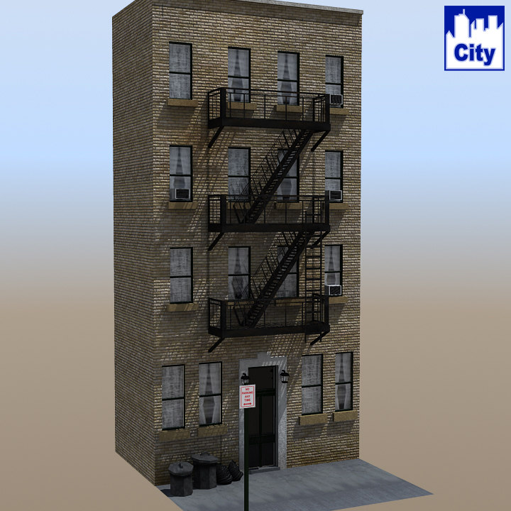 3d inner city apartment building for City apartment building