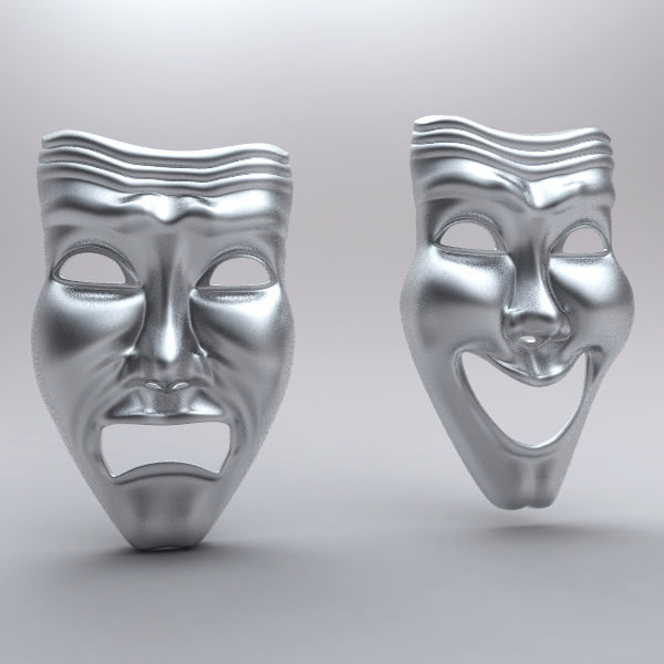 Theatre Happy Sad Masks 3D Models