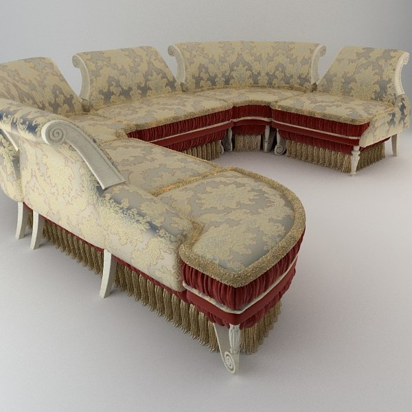 Baroque Antique Sofa 3D Models