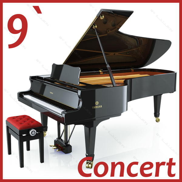 Concert Grand Piano Yamaha CFIIIS 3D Models