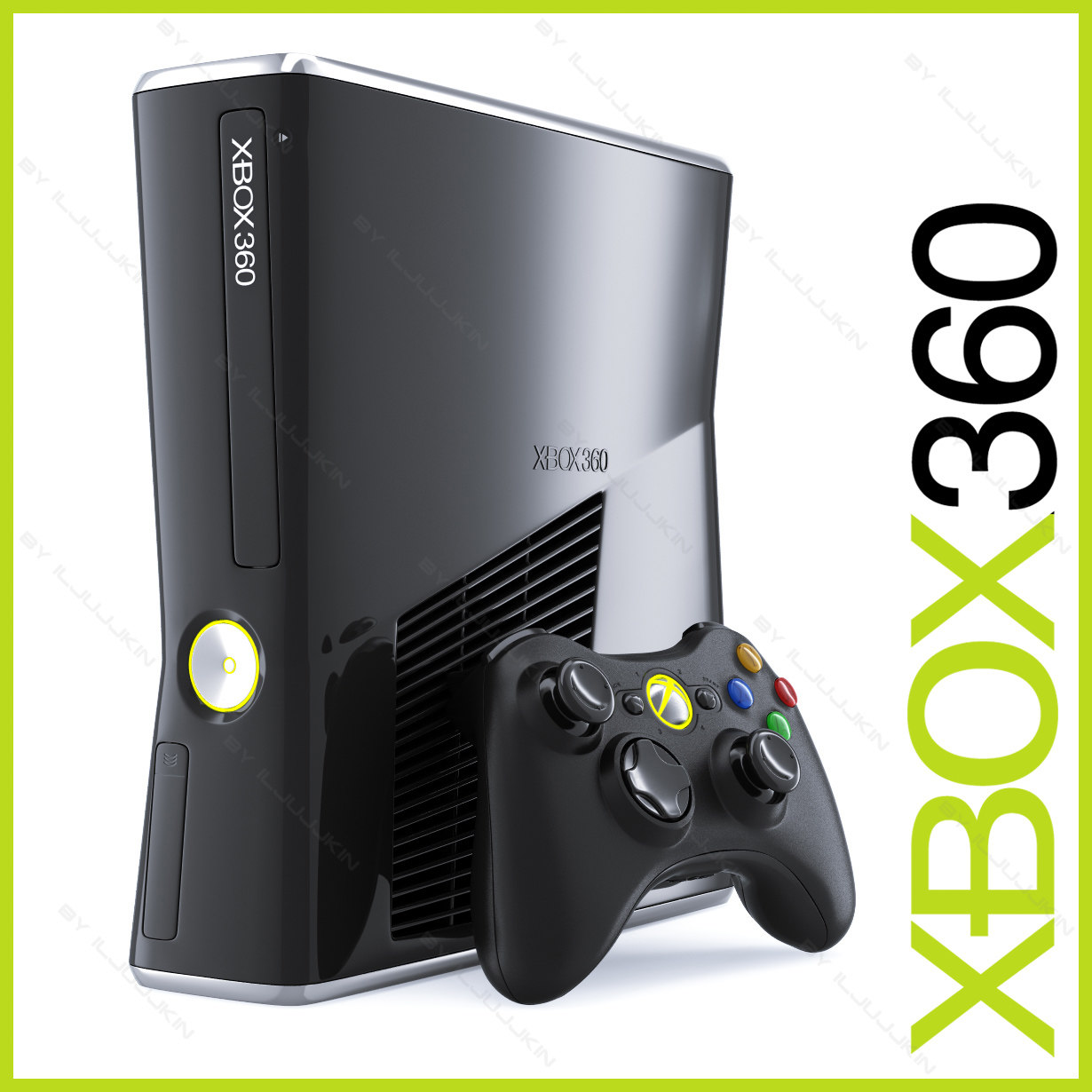 xbox 360 slim 250gb 3d model. Black Bedroom Furniture Sets. Home Design Ideas