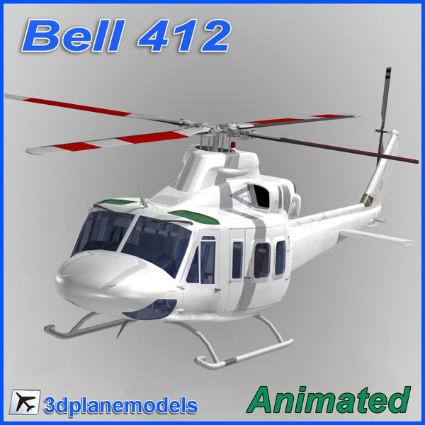Bell 412 Generic white 3D Models