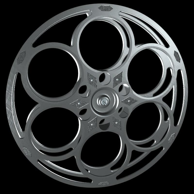 3d model of classic film reel movie