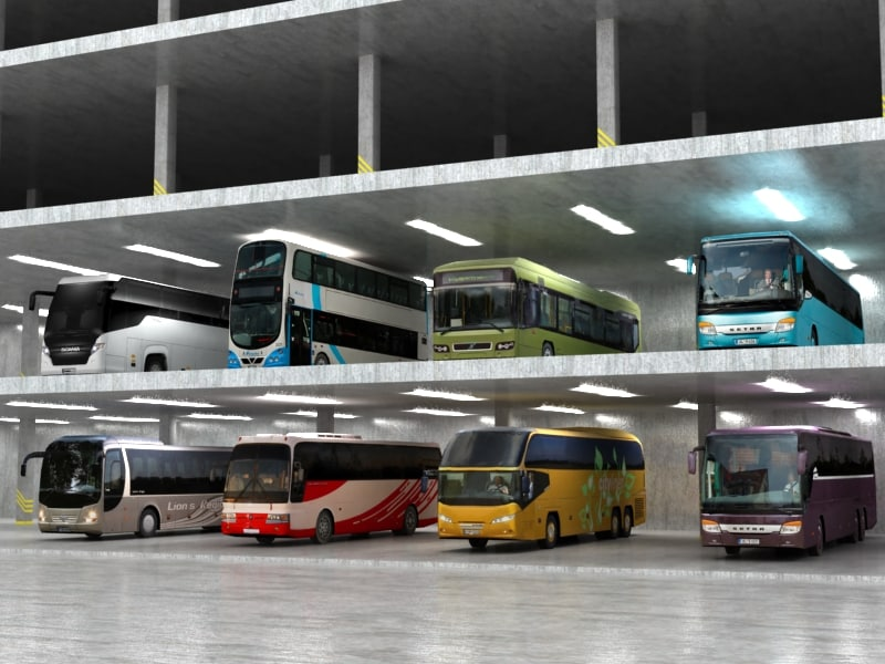 8 low poly buses