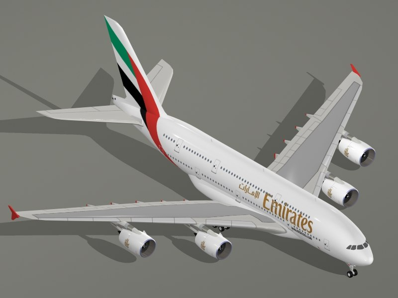 airbus a380 800 emirates airlines 3d model
