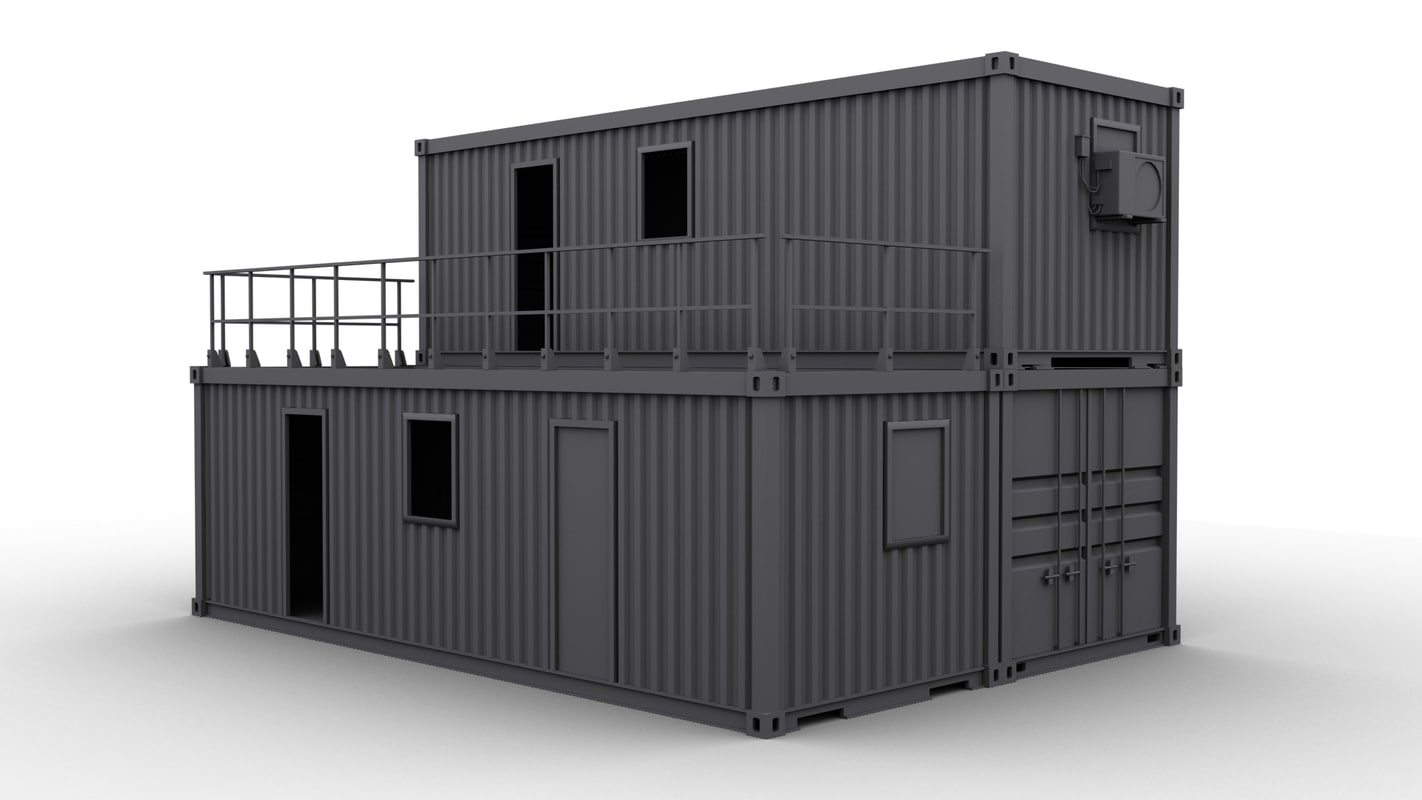 Container construction building 3d max for Construction container