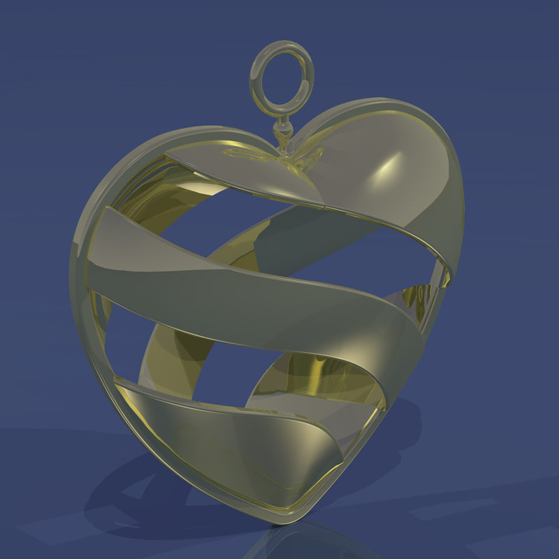 3d model day gold necklace
