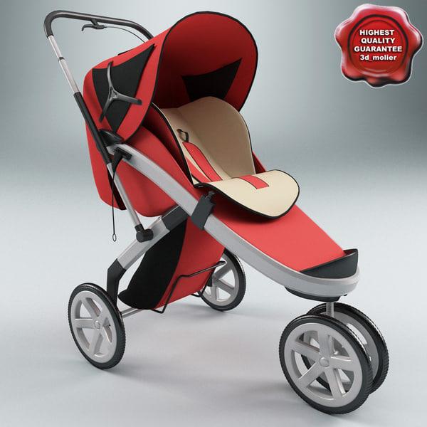 Baby Pram V2 3D Models