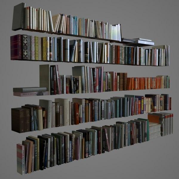 400 realistic books 3D Models