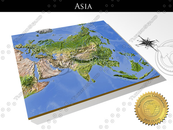 Asia, High resolution 3D relief maps 3D Models