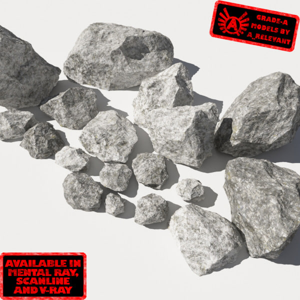 Rocks 11 Jagged RM19 - Chalk White 3D Rocks or Stones 3D Models