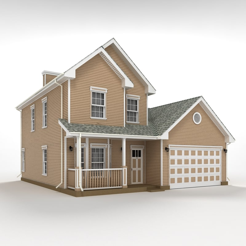 Two story house siding 3d max for Two story model homes