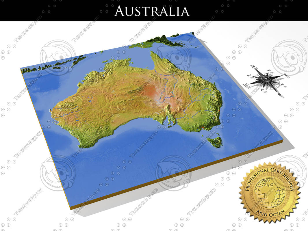 Australia, High resolution 3D relief maps