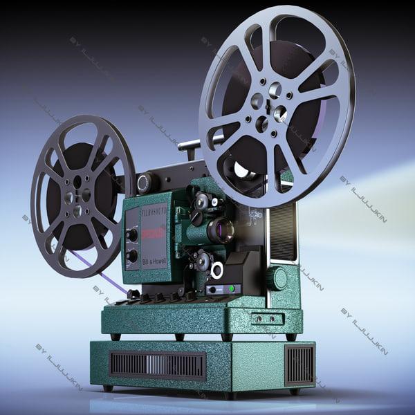 Retro Film Projector 16mm  Bill&Howell 3D Models