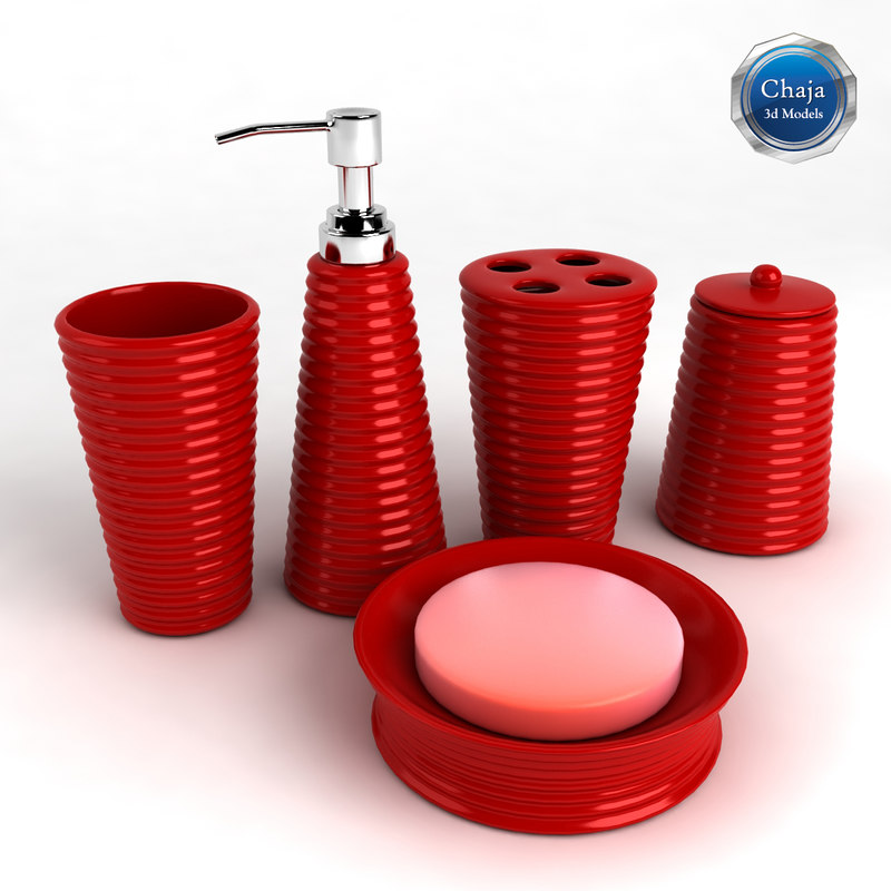 3d model bathroom accessories bath for Red bathroom accessories