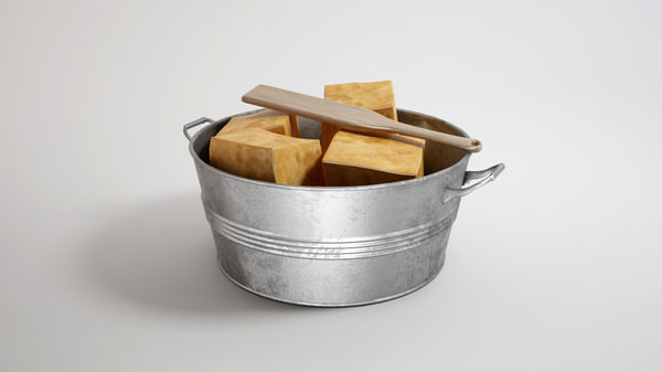 metal bucket with handmade soap 3D Models