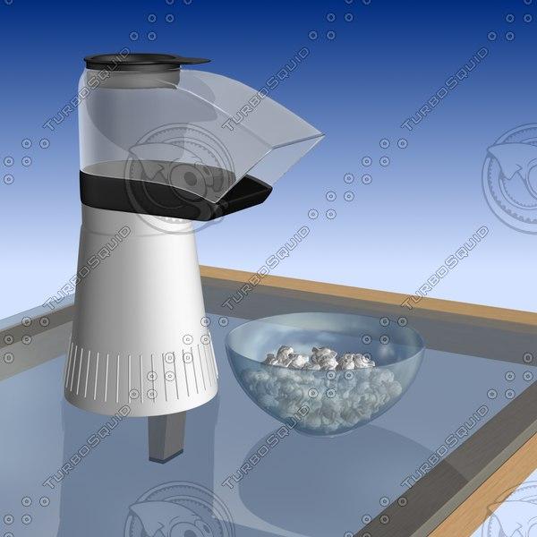 Popcorn Popper and Popcorn 3D Models