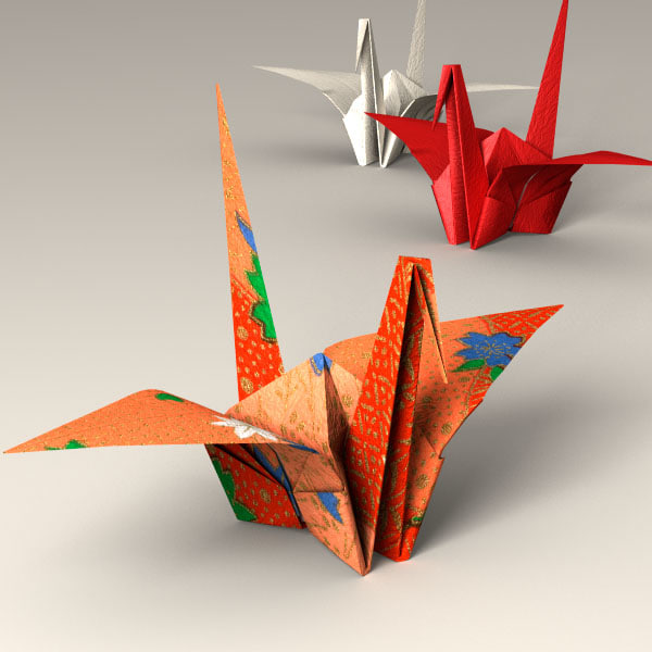Japanese Papercraft Crane (ORIGAMI) 3D Models