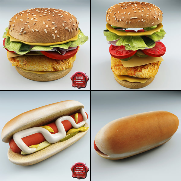 Chicken Sandwich and Hot Dog 3D Models
