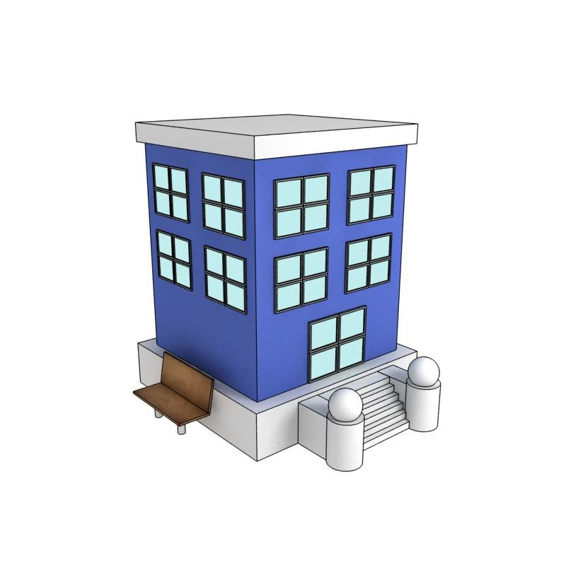 3d cartoon building model for 3d house builder