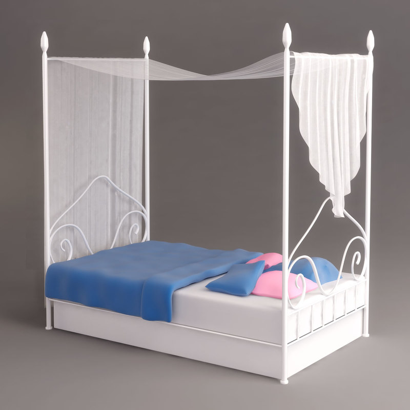 """A child""""s canopy bed."""