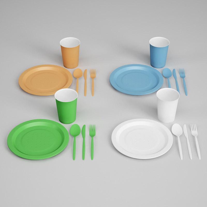 CGAxis Plastic Dishes & Utensils 25
