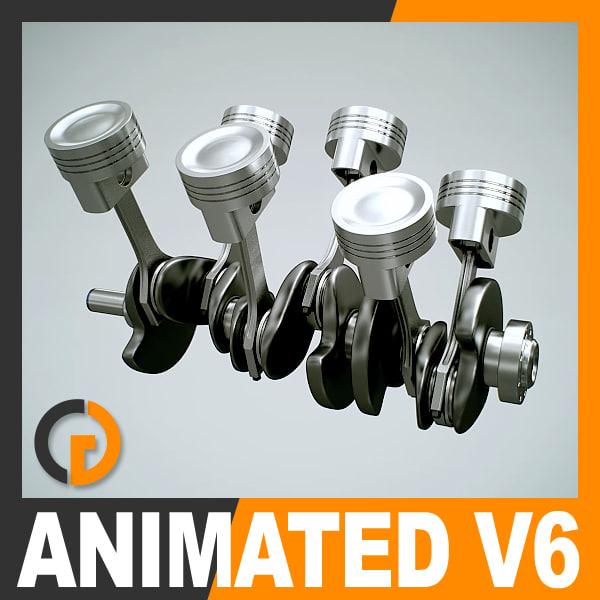 Animated V6 Engine Cylinders 3D Models