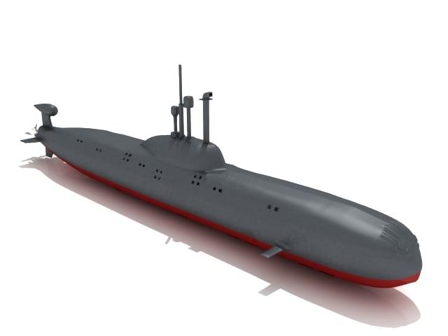3dsmax akula class submarine
