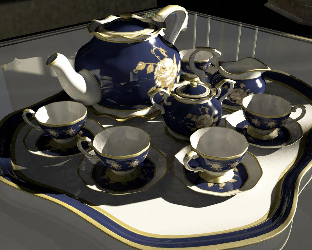 3d model of old tea set