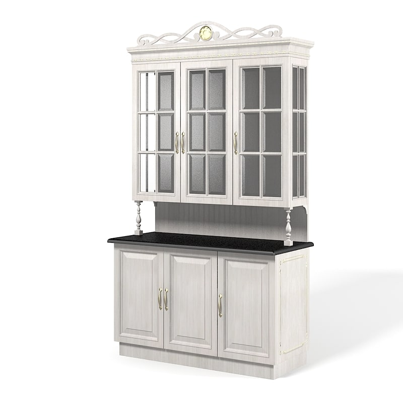 KItchen traditional glass Buffet cupboard cabinet storage classic vintage country provencial provence 0001.jpg